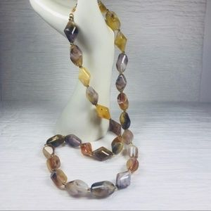 Jewelry - Vintage Glass Bead Necklace Earth Tone Geometric